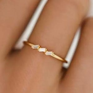 Simply Dainty 3-Baguette Crystal Gold Tone Ring